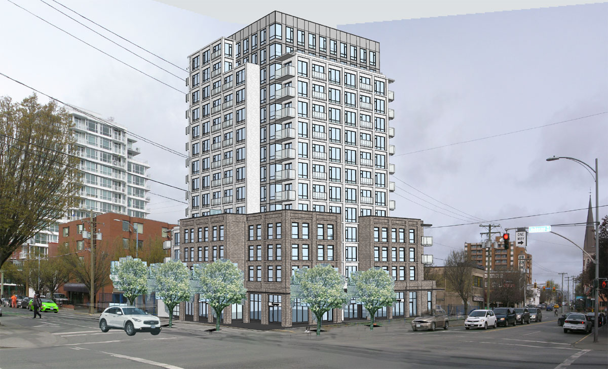 Construction begins on 14-storey rental tower at Quadra and Johnson streets