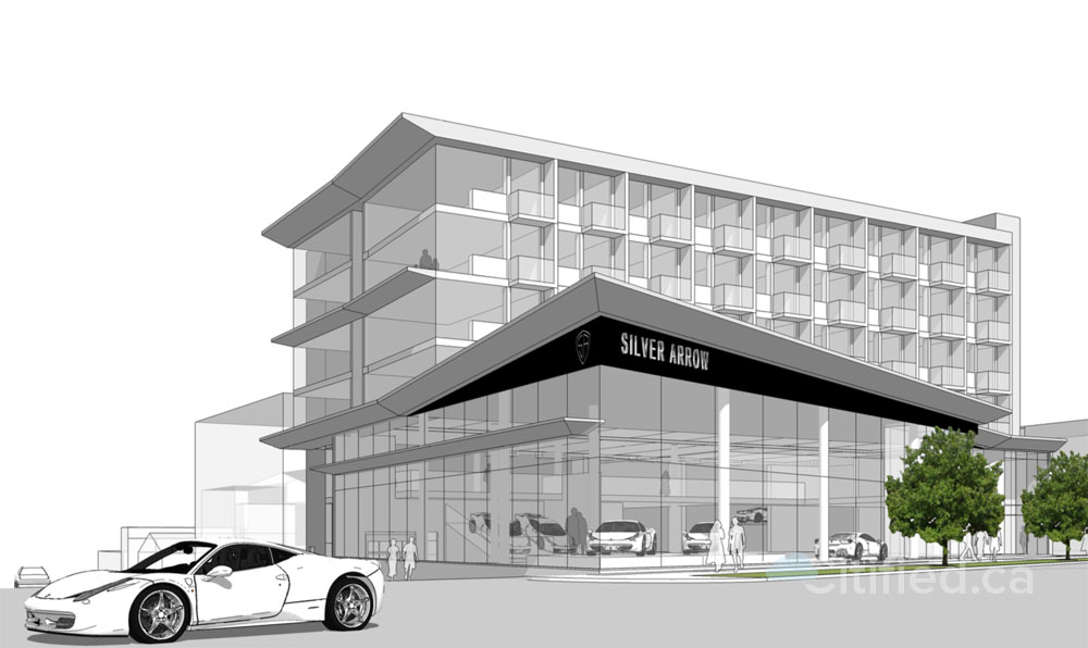 Luxury auto dealership, offices and rental apartments pitched for Douglas Street south of Bay Street