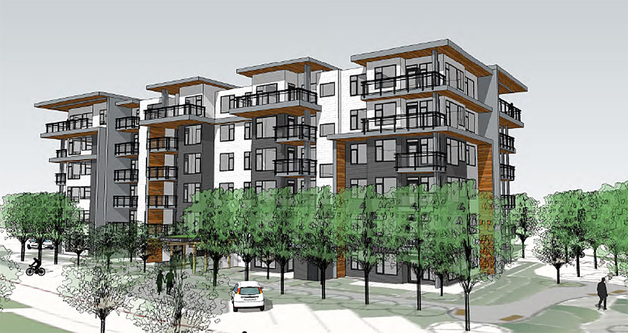 Six-storey condo planned for Tri-Eagle Plaza in Saanich
