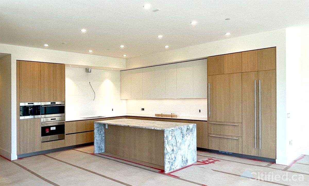 A nearly completed kitchen at Customs House.
