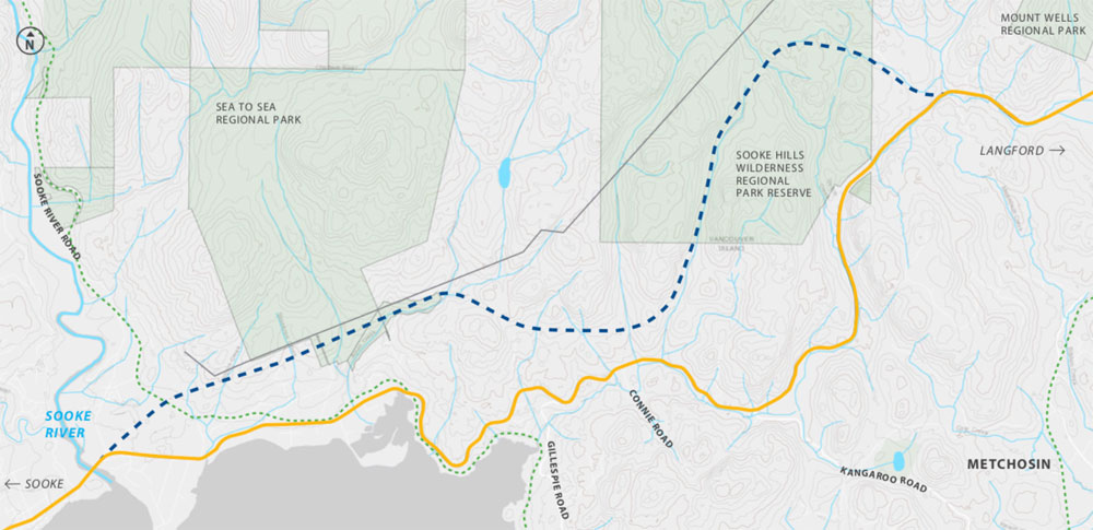 A potential new highway route between Sooke and Langford.