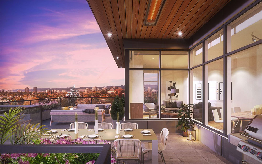 An artist's rendering of a patio and the views beyond.