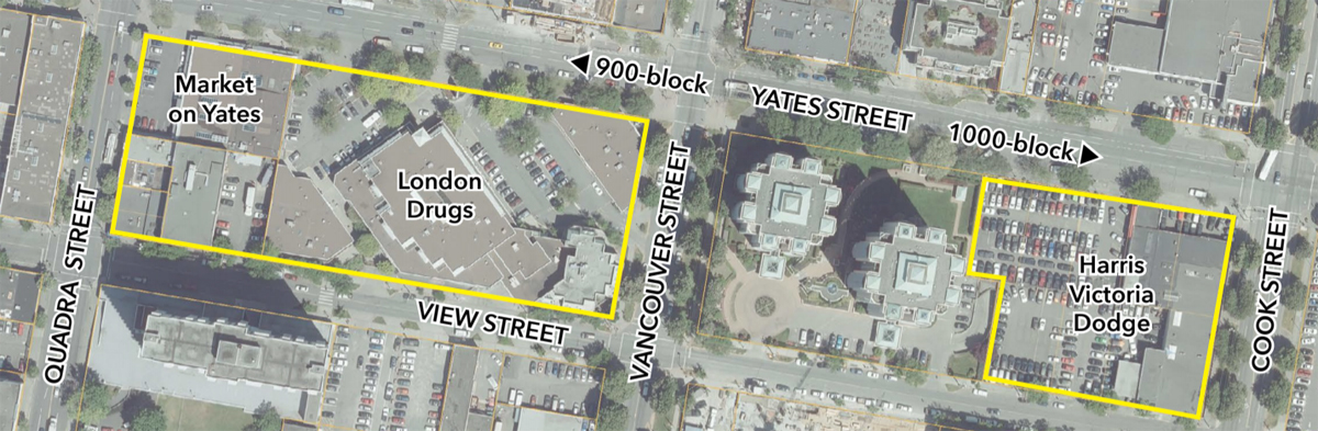Aerial view of Starlight Investments' Yates and View streets holdings