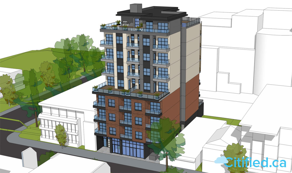 53-unit car-free rental complex proposed for 1010 Fort Street between Vancouver and Cook streets