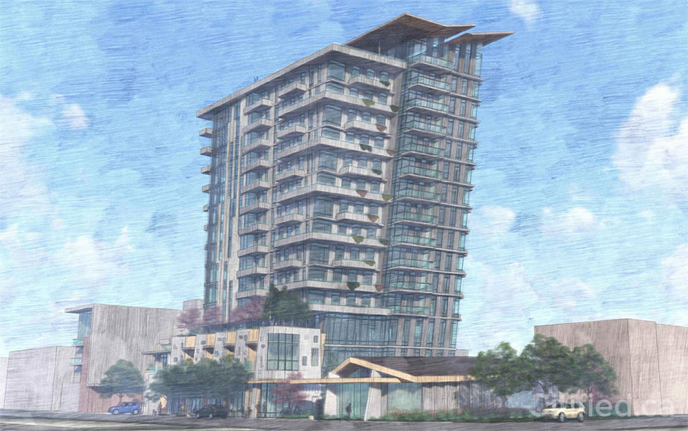 Angled 15-storey highrise pitched for Johnson at Vancouver could rise as Victoria's own leaning tower