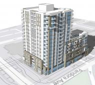 16-storey, 166-unit residential tower proposed for Pandora Avenue at Vancouver Street